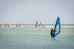 海滩风帆冲浪者 免版税库存照片