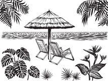 海滩风景与热带叶子的风景视图 伞和两把椅子,传染媒介剪影 库存图片
