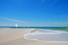 海滩风船沙子 库存图片