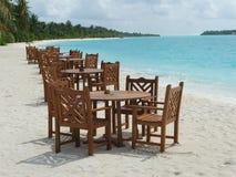 海滩餐馆沙子白色 免版税图库摄影