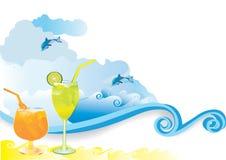 海滩饮料夏天 免版税库存照片