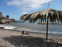 海滩马德拉岛石头 免版税库存图片