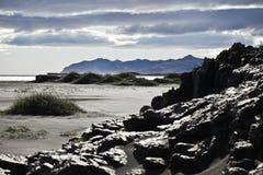 海滩黑色沙子 库存图片