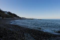 海滩,在日落 库存图片
