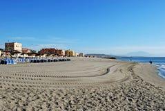海滩, La Linea,安大路西亚,西班牙。 免版税库存照片