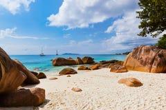 海滩Anse拉齐奥-塞舌尔群岛 免版税库存照片