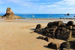 海滩beauport Channel岛泽西英国 库存图片
