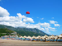 海滩becici montenegro 库存照片