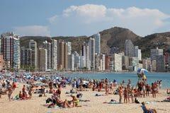 海滩benidorm西班牙 免版税库存照片