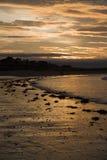 海滩berwick北部日落 免版税库存图片