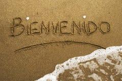 海滩bienvenido 库存照片