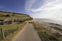 海滩branscombe海岸德文郡英国侏罗纪嘴 库存图片