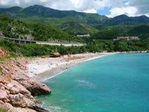 海滩budva montenegro里维埃拉s 图库摄影