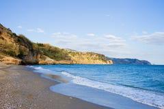海滩burriana nerja 免版税库存图片
