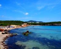 海滩cala ibiza新星 库存图片