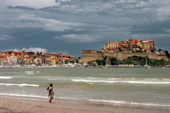 海滩calvi可西嘉岛 免版税图库摄影