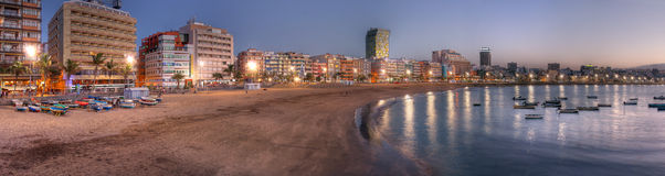 海滩canaria canteras de gran Las Palmas西班牙 免版税库存图片