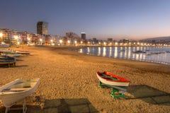 海滩canaria canteras de gran Las Palmas西班牙 免版税库存照片