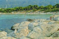 海滩chalkidiki 图库摄影
