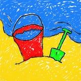 海滩childs画 库存照片