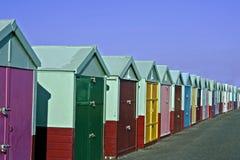 海滩colourfull小屋 库存图片