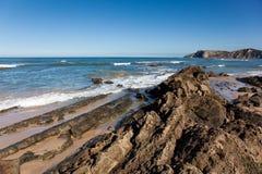 海滩Comillas 免版税库存照片