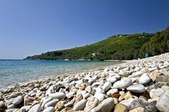 海滩corfu希腊海岛 免版税库存照片