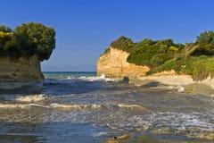 海滩corfu希腊海岛sidari 免版税库存图片