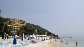 海滩corfu旅馆nissaki 库存图片