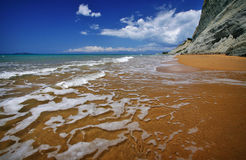 海滩corfu 免版税库存照片