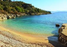 海滩corfu nissaki 库存图片