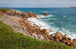 海滩cornwall小卵石 图库摄影
