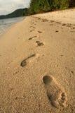 海滩coron脚印沙子 免版税库存图片