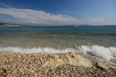 海滩crikvenica 免版税图库摄影