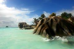 海滩digue海岛la塞舌尔群岛 图库摄影