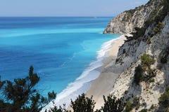海滩egremni希腊lefkada 免版税库存图片