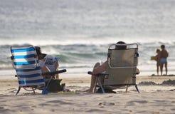 海滩evenig 免版税库存照片