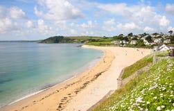 海滩falmouth gyllyngvase 库存照片