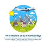 海滩formentera海岛妇女年轻人 在平的样式的圆的横幅 旅行在假期的时候乘飞机 旅行向英国 暑假 村庄, 免版税库存照片