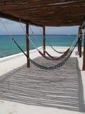 海滩hamocks墨西哥尤加坦 库存照片