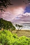 海滩hana有薄雾的日出 免版税库存图片