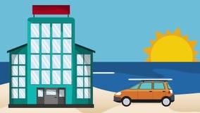 海滩HD定义的旅馆 库存例证