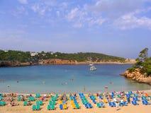 海滩ibiza portinatx西班牙 免版税库存照片