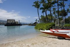 海滩kailua kona 免版税库存照片