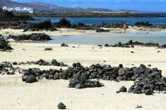 海滩lanzarote西班牙 免版税库存图片