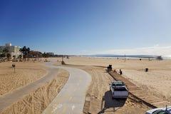 海滩monica ・圣诞老人场面冬天 免版税图库摄影