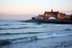 海滩narragansett日落 库存图片
