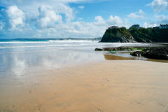 海滩newquay的cornwall 图库摄影