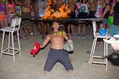 海滩phangan满月的当事人 免版税库存照片