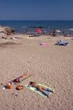海滩sitges 免版税库存照片